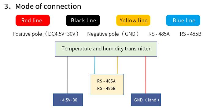 Wiring diagram of temperature and humidity sensor