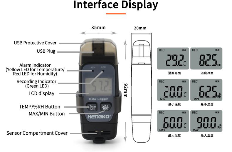 USB temperature and humidity logger